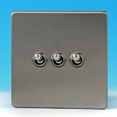 Varilight 3 Gang 10A 1 or 2 Way Dolly Toggle Light Switch Screwless Matt Chrome Finish XDST3S